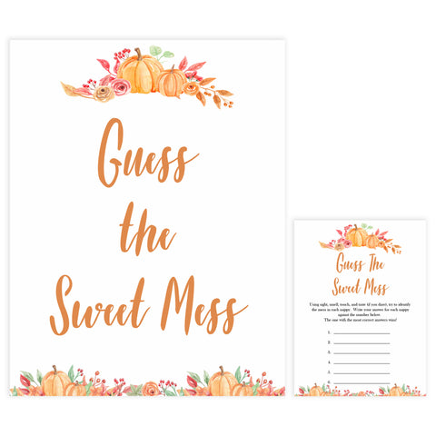 Fall pumpkin baby games, guess the sweet mess, printable baby games, fall baby shower, pumpkin baby shower, autumnal baby games, top 10 baby games, best baby games
