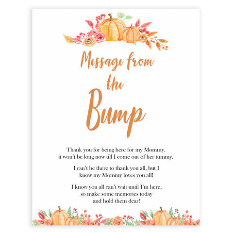 Fall pumpkin baby games, message from the bump, printable baby games, fall baby shower, pumpkin baby shower, autumnal baby games, top 10 baby games, best baby games