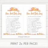 Fall pumpkin baby games,  name that baby song, printable baby games, fall baby shower, pumpkin baby shower, autumnal baby games, top 10 baby games, best baby games