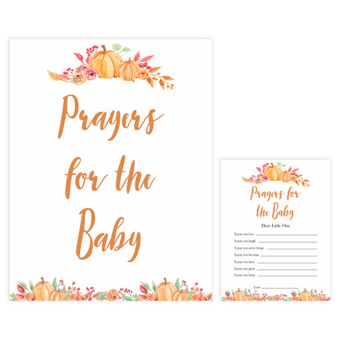 Fall pumpkin baby games, prayers for the baby, printable baby games, fall baby shower, pumpkin baby shower, autumnal baby games, top 10 baby games, best baby games