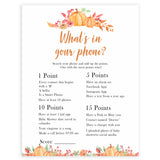 Fall pumpkin baby games, whats in your phone, printable baby games, fall baby shower, pumpkin baby shower, autumnal baby games, top 10 baby games, best baby games