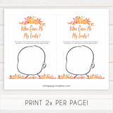 Fall pumpkin baby games, who gave me my looks, printable baby games, fall baby shower, pumpkin baby shower, autumnal baby games, top 10 baby games, best baby games