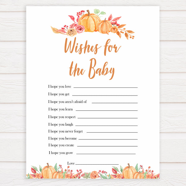 Fall pumpkin baby games, wishes for the baby, printable baby games, fall baby shower, pumpkin baby shower, autumnal baby games, top 10 baby games, best baby games