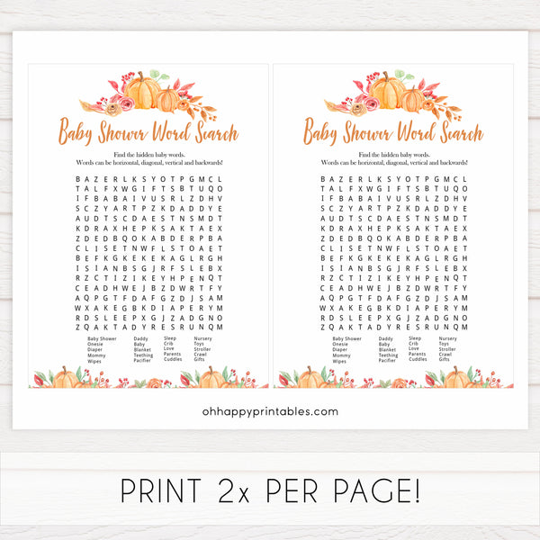 Fall pumpkin baby games, baby word search, printable baby games, fall baby shower, pumpkin baby shower, autumnal baby games, top 10 baby games, best baby games