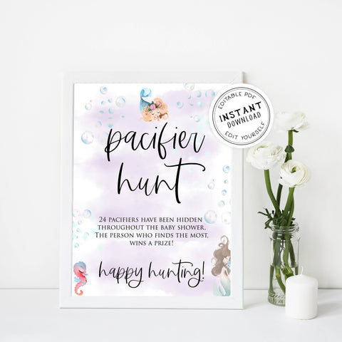 pacifier hunt baby game, Printable baby shower games, little mermaid baby games, baby shower games, fun baby shower ideas, top baby shower ideas, little mermaid baby shower, baby shower games, pink hearts baby shower ideas