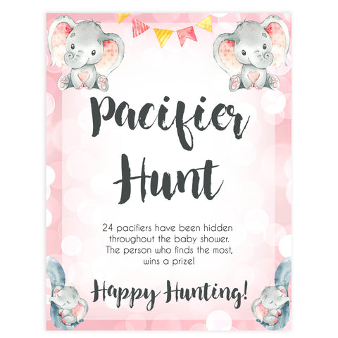 pacifier hunt baby game, Printable baby shower games, fun abby games, baby shower games, fun baby shower ideas, top baby shower ideas, pink elephant baby shower, pink baby shower ideas