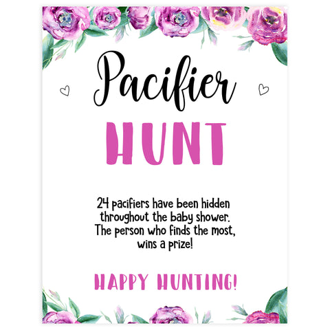 pacifier hunt baby game, printable baby games, purple baby shower games, fun baby shower ideas
