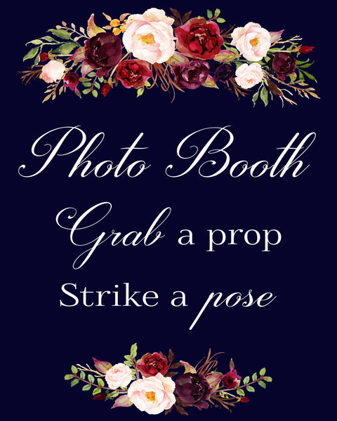 Photo Booth Grab a Prop marsala burgundy wedding sign