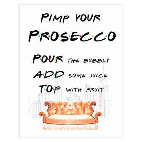 pimp your prosecco sign, prosecco sign, Printable bridal shower signs, friends bridal shower decor, friends bridal shower decor ideas, fun bridal shower decor, bridal shower game ideas, friends bridal shower ideas