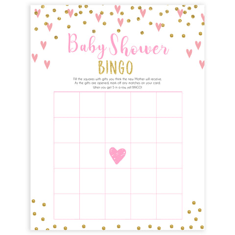 pink hearts baby shower, baby shower bingo baby game, printable baby games, pink baby games, girl baby games, top 10 baby games, fun baby games