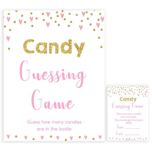 pink hearts baby shower, candy guessing game baby game, printable baby games, pink baby games, girl baby games, top 10 baby games, fun baby games