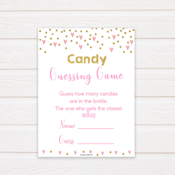pink hearts candy guessing game, baby shower games, candy guessing game, how many candies, funny baby shower games, popular baby shower games