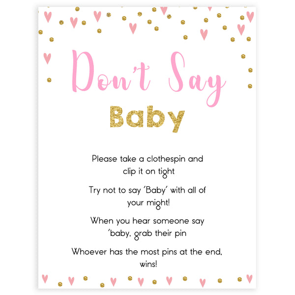 pink hearts baby shower, don't say baby baby game, printable baby games, pink baby games, girl baby games, top 10 baby games, fun baby games