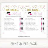 pink hearts baby shower, he said she said baby game, printable baby games, pink baby games, girl baby games, top 10 baby games, fun baby games