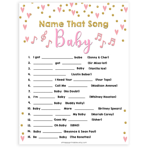 pink hearts baby shower, name that baby song baby game, printable baby games, pink baby games, girl baby games, top 10 baby games, fun baby games