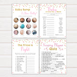 Pink Baby Shower Games Bundle, 7 Baby Shower Games Pack, Pink & Gold, Baby Shower Games, Girl Baby Shower Games, Baby Shower Games, printable baby shower games, fun baby games