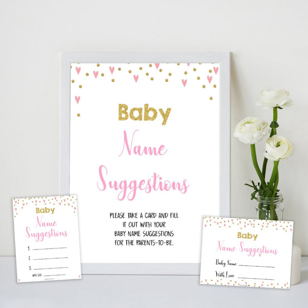 Pink Hearts Baby Name Suggestion, Baby Name Suggestions, Baby Shower Games, Pink Baby Games, Baby Names, Pink Baby Name Cards, printable baby games, fun baby games, popular baby games
