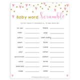 pink hearts baby shower, baby word scramble baby game, printable baby games, pink baby games, girl baby games, top 10 baby games, fun baby games