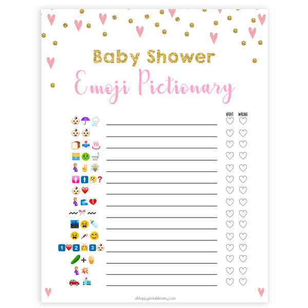 Pink Hearts Emoji Pictionary Baby Shower Games, Emoji Baby Shower Games, Pink Hearts Emoji Pictionary, Baby Shower Emoji Game, Emoji, fun baby shower games, popular baby shower games