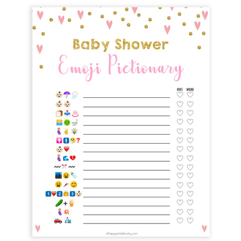 pink hearts baby shower, emoji pictionary baby game, printable baby games, pink baby games, girl baby games, top 10 baby games, fun baby games