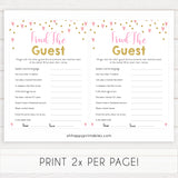 pink hearts baby shower, find the guest baby game, printable baby games, pink baby games, girl baby games, top 10 baby games, fun baby games