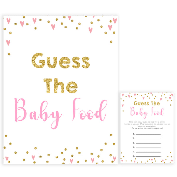 pink hearts baby shower, guess the baby food baby game, printable baby games, pink baby games, girl baby games, top 10 baby games, fun baby games
