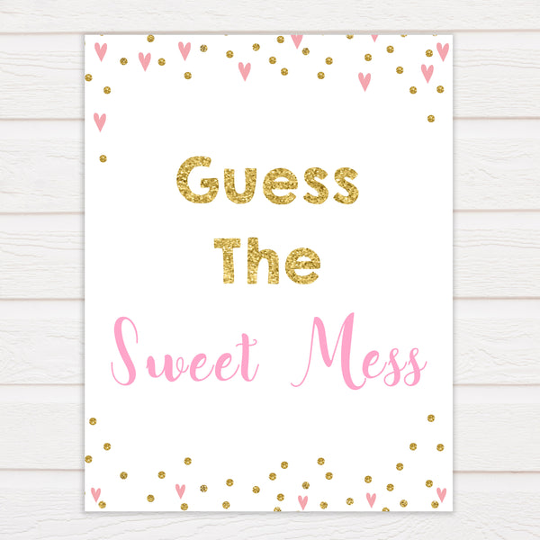 Pink Hearts Baby Shower Guess The Mess Game, Baby Shower Guess The Sweet Mess, Baby Shower Games, Guess The Mess, Baby Games, fun baby shower games, popular baby games