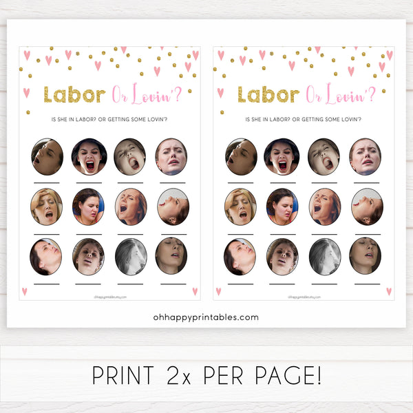 pink hearts baby shower, labor or loving, labor or porn baby game, printable baby games, pink baby games, girl baby games, top 10 baby games, fun baby games