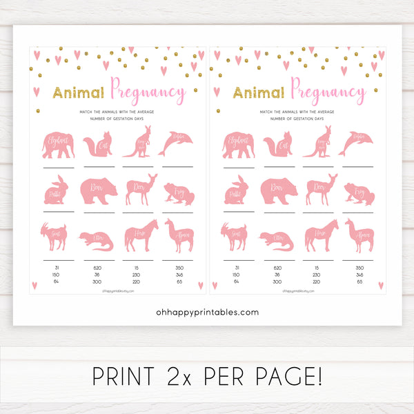 pink hearts baby shower, animal pregnancy baby game, printable baby games, pink baby games, girl baby games, top 10 baby games, fun baby games