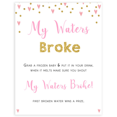 pink hearts baby shower, my waters broke baby game, printable baby games, pink baby games, girl baby games, top 10 baby games, fun baby games