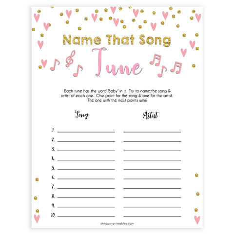 pink hearts baby shower, name that baby tune baby game, printable baby games, pink baby games, girl baby games, top 10 baby games, fun baby games