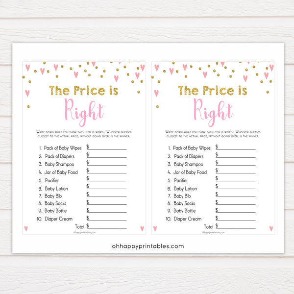 Small pink hearts baby game, the price is right game, fun baby games, top baby games, printable baby games, girl baby games, pink baby shower, 10 best baby games
