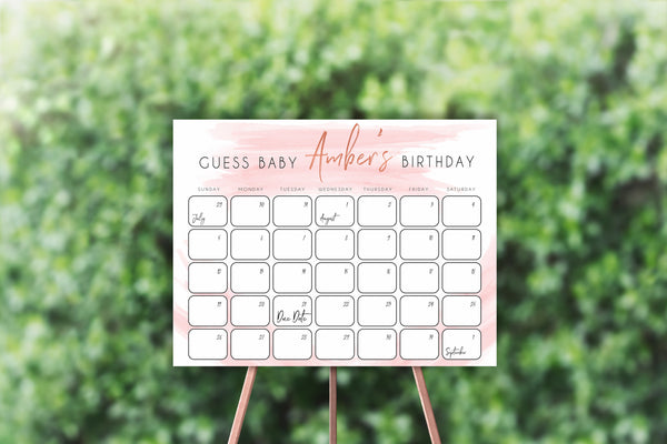 Guess The Baby Birthday Game, Printable baby shower games, baby birthday predictions game, fun baby shower games, baby shower games ideas