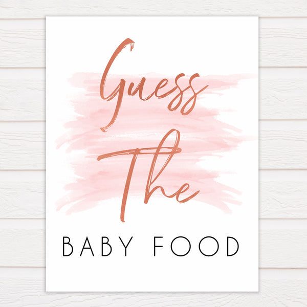 Pink Swash Baby Shower Guess The Baby Food, Printed Baby Shower Games, Guess The Baby Food, Pink Baby Shower Games, Guess The Baby Food, popular baby games, printable baby games