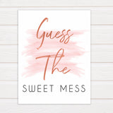 Pink Swash Baby Shower Guess The Mess Game, Printable Baby Shower Games, Guess The Sweet Mess, Baby Shower Games, Guess The Mess, Game, popular baby games, fun baby games, printable baby games