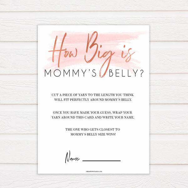 Pink Swash How Big Is Mommy's Belly, Mommys Belly Game, Baby Shower Games, Printable Baby Games, White Guess Mommys Belly, Baby Games, printable baby games, fun baby games, popular baby shower games
