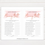 Pink Swash Who Knows Mommy Best Quiz, Printable Baby Shower Games, Knows Mummy Games, Neutral Baby Shower Games, Fun Baby Shower Games, printable baby shower games, fun baby shower games, popular baby shower games