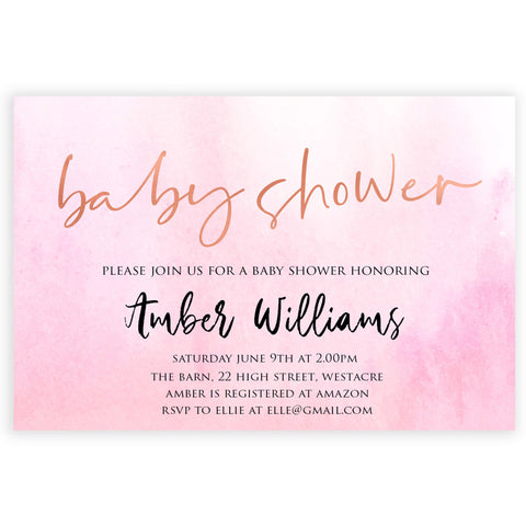 editable baby shower invitations, editable PDF invite, pink baby invites, baby shower invitations, girl invites, baby shower invites