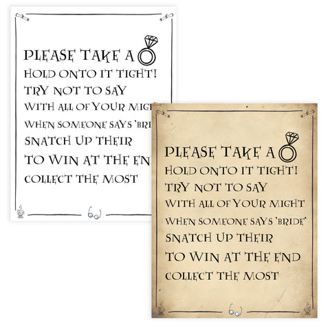 please take a ring game, bridal ring game, Printable bridal shower games, Harry potter bridal shower, Harry Potter bridal shower games, fun bridal shower games, bridal shower game ideas, Harry Potter bridal shower