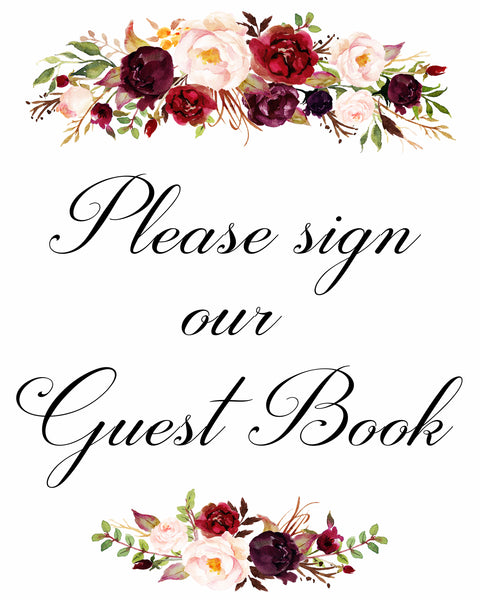 Please sign our guest book marsala wedding sign