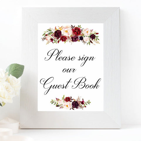 Please sign our guest book marsala wedding sign printable