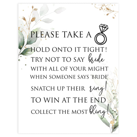 please take a ring game, Printable bridal shower games, greenery bridal shower, gold leaf bridal shower games, fun bridal shower games, bridal shower game ideas, greenery bridal shower