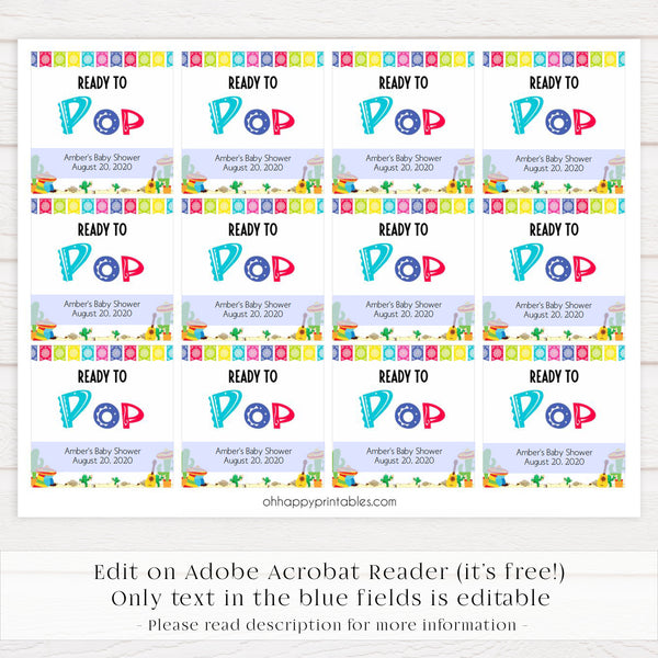 ready to pop tags, baby pop tags, Printable baby shower games, Mexican fiesta fun baby games, baby shower games, fun baby shower ideas, top baby shower ideas, fiesta shower baby shower, fiesta baby shower ideas