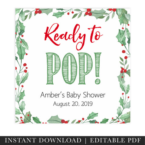 ready to pop tags, christmas baby tags, festive baby shower, Christmas Baby Shower, printable baby tags, top baby shower decor