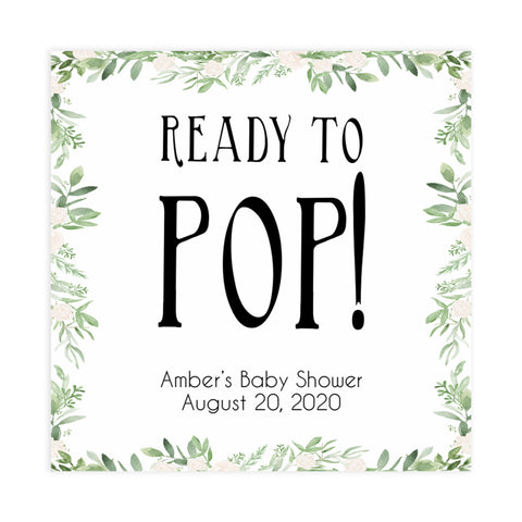 ready to pop baby tags, ready to pop, Printable baby shower games, greenery baby shower games, fun floral baby games, botanical baby shower games,