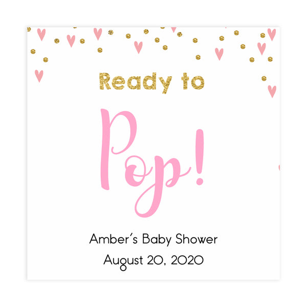 ready to pop tags, pop baby tags,Printable baby shower games, small pink hearts fun baby games, baby shower games, fun baby shower ideas, top baby shower ideas, gold baby shower, pink hearts baby shower ideas