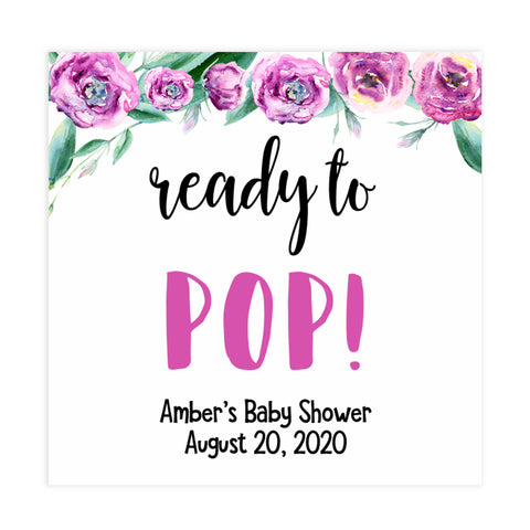 ready to pop baby tags, printable baby shower tags, peonies baby shower decor, fun baby shower ideas