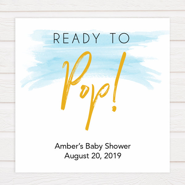 ready to pop baby shower tags, printable baby tags, blue swash baby tags, fun baby shower ideas