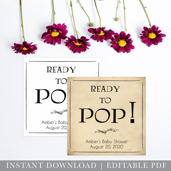 Ready to pop baby tags, Wizard baby shower games, printable baby shower games, Harry Potter baby games, Harry Potter baby shower, fun baby shower games,  fun baby ideas