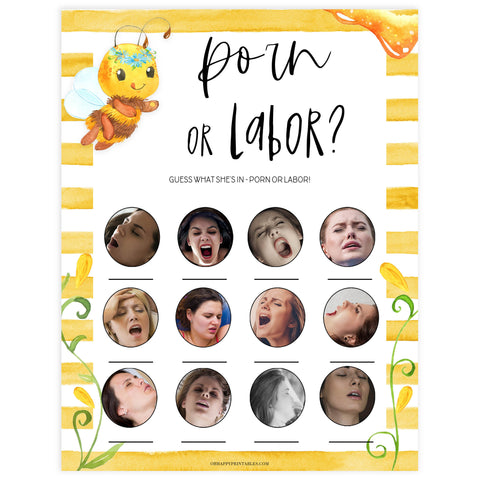 labor or porn baby game, labor porn game, Printable baby shower games, mommy bee fun baby games, baby shower games, fun baby shower ideas, top baby shower ideas, mommy to bee baby shower, friends baby shower ideas